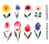 watercolor cartoon flowers set. ... | Shutterstock .eps vector #266853191