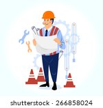 happy male engineer working on... | Shutterstock .eps vector #266858024