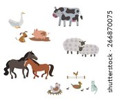 farm animals cartoon characters | Shutterstock .eps vector #266870075
