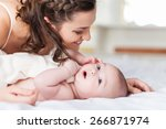 happy family laughing faces ... | Shutterstock . vector #266871974