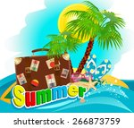 suitcase and palm on the island ... | Shutterstock .eps vector #266873759