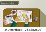 workplace  office desk....   Shutterstock .eps vector #266882609