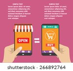 one hand holds a smartphone... | Shutterstock .eps vector #266892764