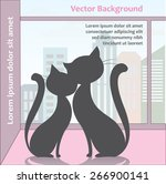 two cats sitting on the window... | Shutterstock .eps vector #266900141