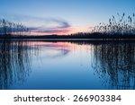 Beautiful Sunset Over Calm Lake....