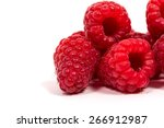 ripe red raspberry isolated on... | Shutterstock . vector #266912987