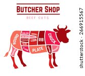 butcher shop cuts of beef .... | Shutterstock .eps vector #266915567