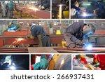 Welders in metal industry, collage - stock photo