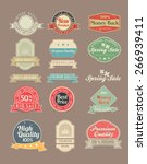 vintage stickers and labels set | Shutterstock .eps vector #266939411