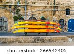 colorful boats over stone... | Shutterstock . vector #266942405