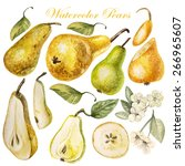 set with watercolor pears.... | Shutterstock .eps vector #266965607