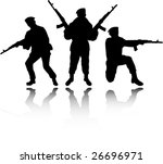 the raster soldiers silhouettes   Shutterstock . vector #26696971