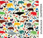 Stock vector wild life animal silhouettes seamless pattern design in retro style colors 266989004