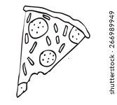 pizza slice doodle | Shutterstock .eps vector #266989949