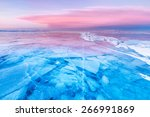 Blue Ice Of Baikal Lake Under...