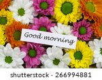 good morning card with colorful ... | Shutterstock . vector #266994881