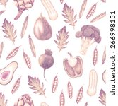 hand drawn vegetable seamless... | Shutterstock . vector #266998151
