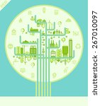 flat style design eco city...