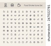 set of stroke food icons....
