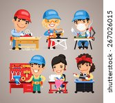 set of cartoon workers at their ... | Shutterstock .eps vector #267026015