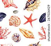 seamless vector nautical... | Shutterstock .eps vector #267026429
