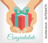 vector congratulation flat... | Shutterstock .eps vector #267026474