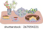 vector composition with kettle  ... | Shutterstock .eps vector #267054221