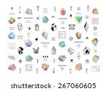 Set of colored crystals in polygon style with geometric shapes.Trendy hipster retro backgrounds and logotypes