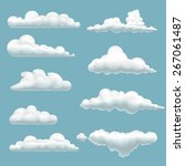 set of cartoon clouds on a blue ... | Shutterstock .eps vector #267061487