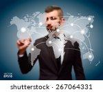 businessman pushing button... | Shutterstock .eps vector #267064331