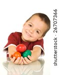 Happy easter kid with colorful eggs - isolated, shallow depth of field - stock photo