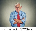 portrait of unhappy grumpy... | Shutterstock . vector #267074414