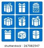 gift box icons set on blue...
