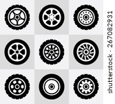 Tires And Wheels Icons Set....