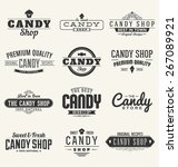 typographic candy themed label