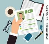 human resources design... | Shutterstock .eps vector #267095597