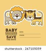 baby shower design over orange... | Shutterstock .eps vector #267105059