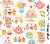 tea time seamless pattern with... | Shutterstock .eps vector #267105089