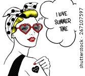 woman in heart shape sunglasses ... | Shutterstock .eps vector #267107597