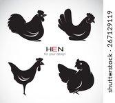 vector group of hen design on... | Shutterstock .eps vector #267129119
