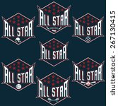 set of vintage sports all star... | Shutterstock .eps vector #267130415