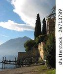 Famous Italian lake Como from Varenna town - stock photo