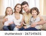 happy to be a family. portrait... | Shutterstock . vector #267145631