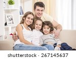 happy to be a family. portrait... | Shutterstock . vector #267145637