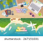 colourful travel vector flat... | Shutterstock .eps vector #267151031