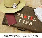 summer travel hat flower old... | Shutterstock . vector #267161675
