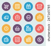 shopping flat contour icons on... | Shutterstock .eps vector #267165785
