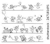 hand drawing cartoon character... | Shutterstock .eps vector #267181691
