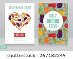 menu cards template for vegan... | Shutterstock .eps vector #267182249
