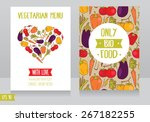 menu cards template for vegan... | Shutterstock .eps vector #267182255